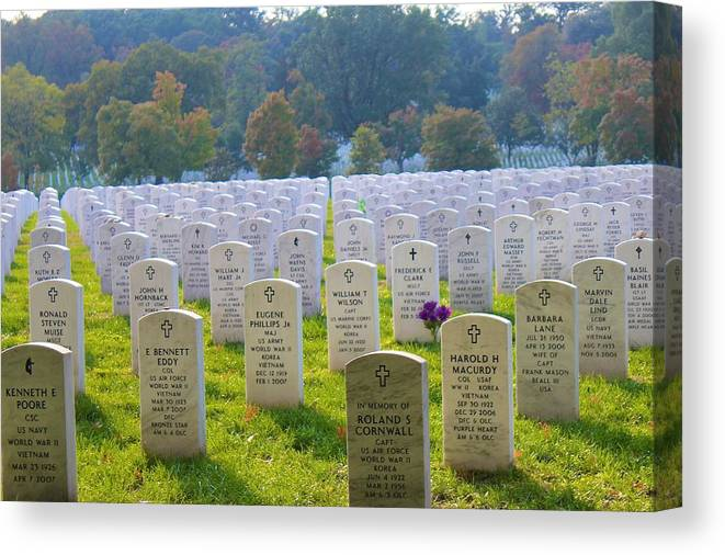 Arlington National Cemetery Canvas Print featuring the photograph The Fallen by Candi Davidson