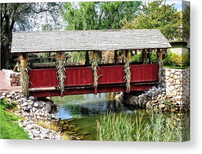 Gardner Village Canvas Print featuring the photograph The Gardner Villiage Bridge by Image Takers Photography LLC - Laura Morgan