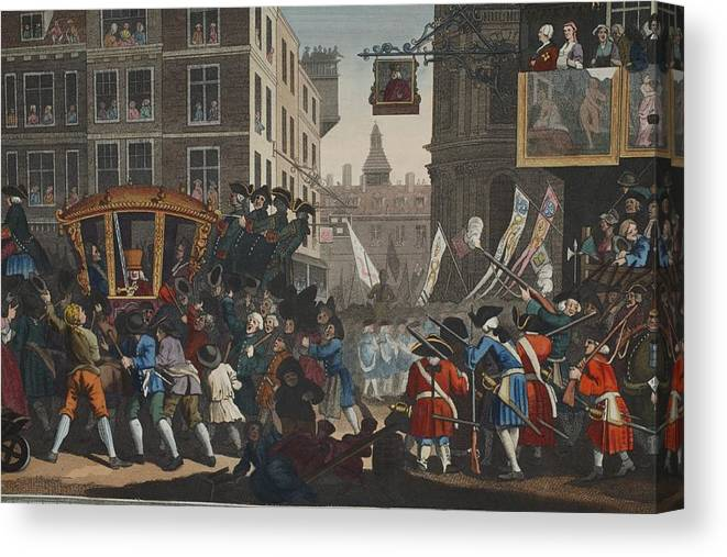 Satire Canvas Print featuring the drawing The Industrious Prentice Lord Mayor by William Hogarth