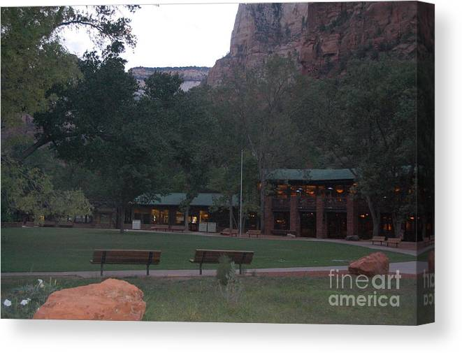 Lodge Canvas Print featuring the photograph The Lodge At Zion National Park by Mari Gates