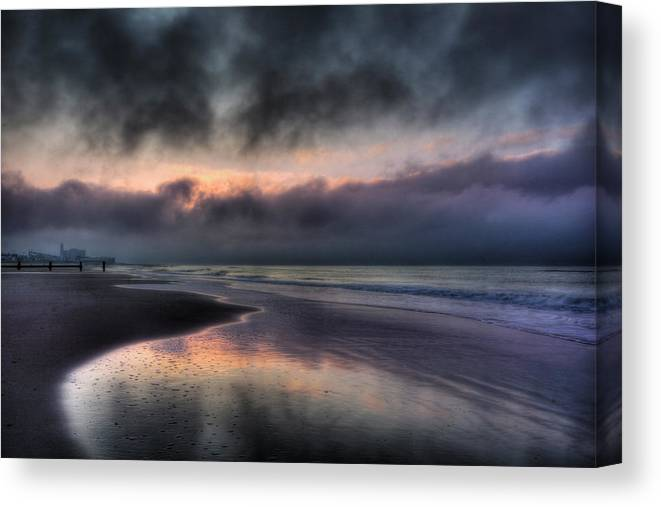 Ocean City Canvas Print featuring the photograph The Oc At Dawn by Lori Deiter