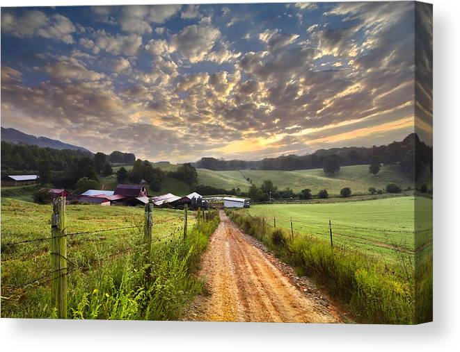 Appalachia Canvas Print featuring the photograph The Old Farm Lane by Debra and Dave Vanderlaan