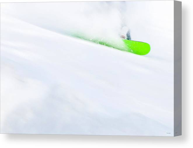 Snowboarder Canvas Print featuring the photograph The Snowboarder And The Snow by Theresa Tahara