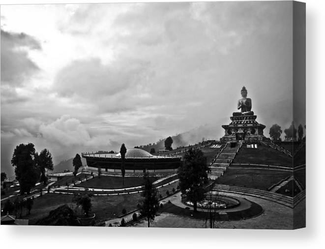 Landscape Canvas Print featuring the photograph The Still Buddha by Sonam Phintso Bhutia