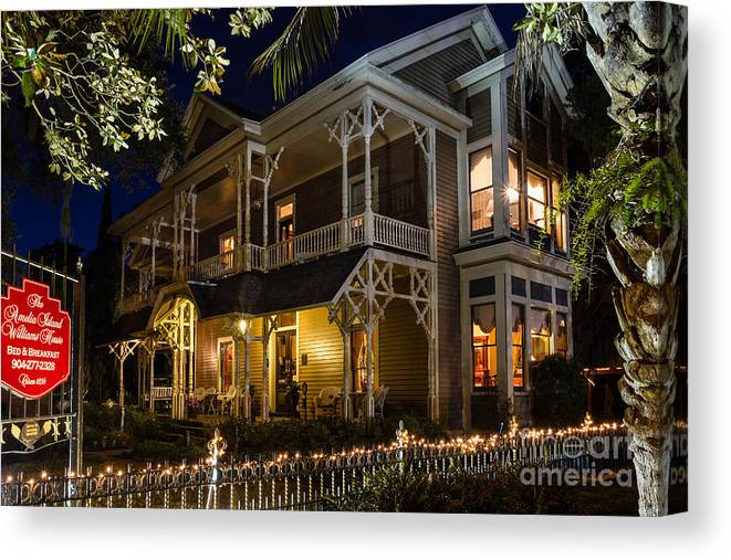 The Williams House Bed And Breakfast Canvas Print featuring the photograph The Williams House Fernandina Beach Florida by Dawna Moore Photography