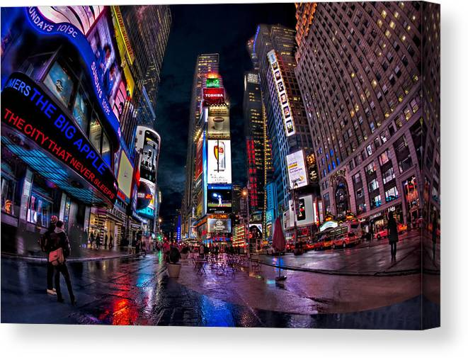 Times Square Canvas Print featuring the photograph Times Square New York City The City That Never Sleeps by Susan Candelario