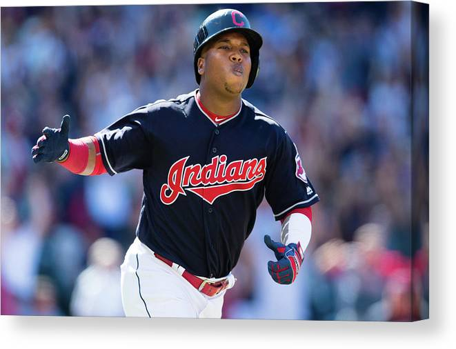 American League Baseball Canvas Print featuring the photograph Toronto Blue Jays V Cleveland Indians by Jason Miller