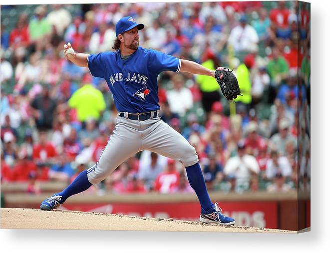American League Baseball Canvas Print featuring the photograph Toronto Blue Jays V Texas Rangers by Rick Yeatts