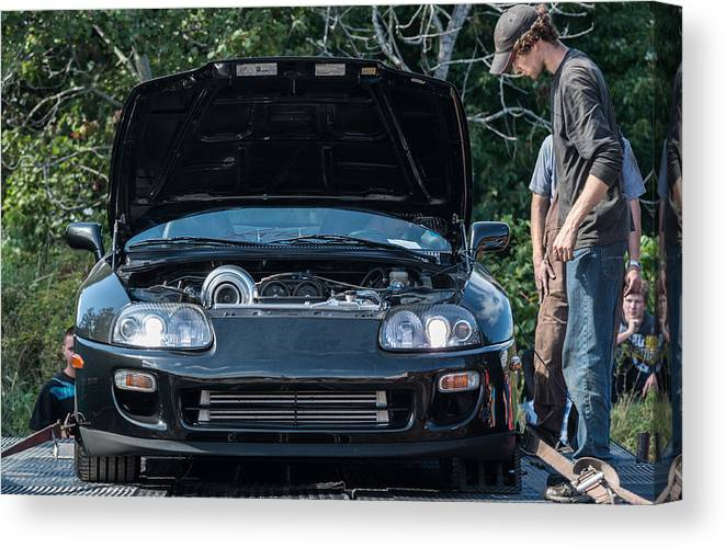bd1f133663e2 People Canvas Print featuring the photograph Toyota Supra Dyno Run by Shaunl