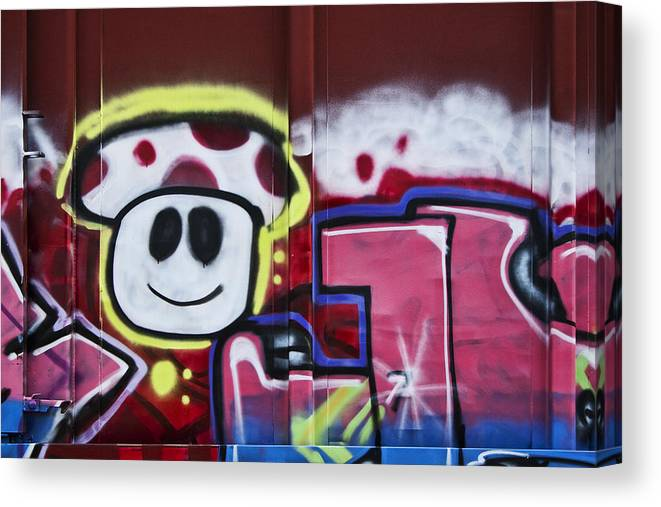 Graffiti Canvas Print featuring the photograph Train Art Cartoon Face by Carol Leigh