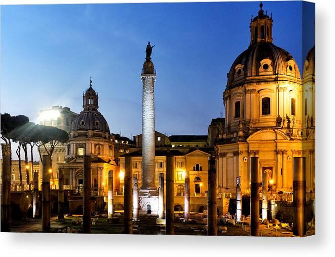 Rome Canvas Print featuring the photograph Trajan's Column by Fabrizio Troiani