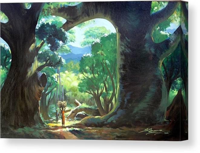 Landscape Canvas Print featuring the painting Tree Landscape by Sundarakannan Srinivasan