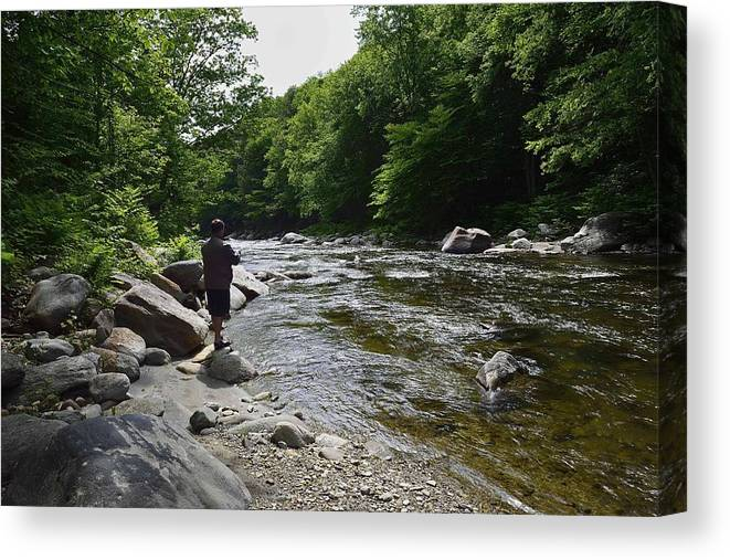Landscape Canvas Print featuring the photograph Trout Fishing by Kirk Stanley
