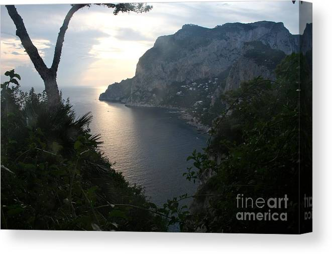 Isle Of Capri Canvas Print featuring the photograph Twilight Glow In Capri by Mary Ann Teschan