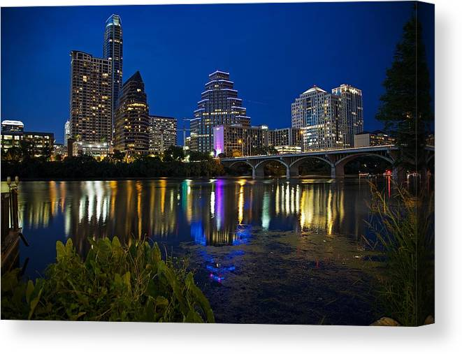 Austin Canvas Print featuring the photograph Twilight Reflections by Dave Files