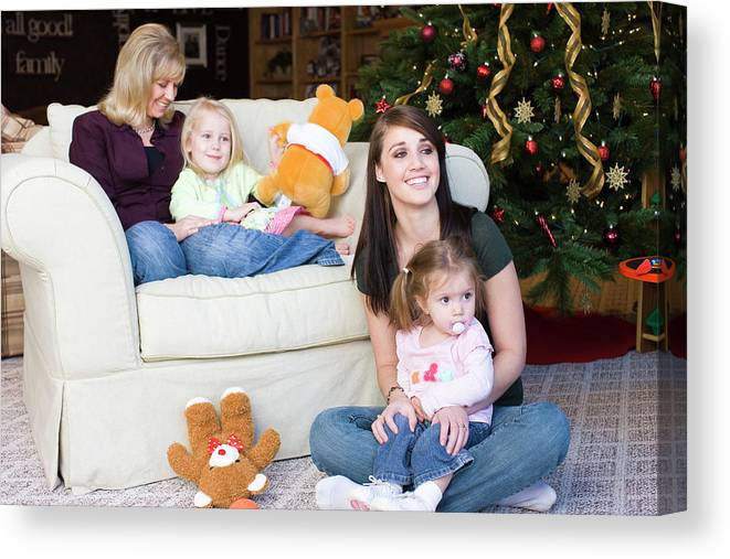 2-3 Years Canvas Print featuring the photograph Two Women Relax With Their Kids by David Ellis