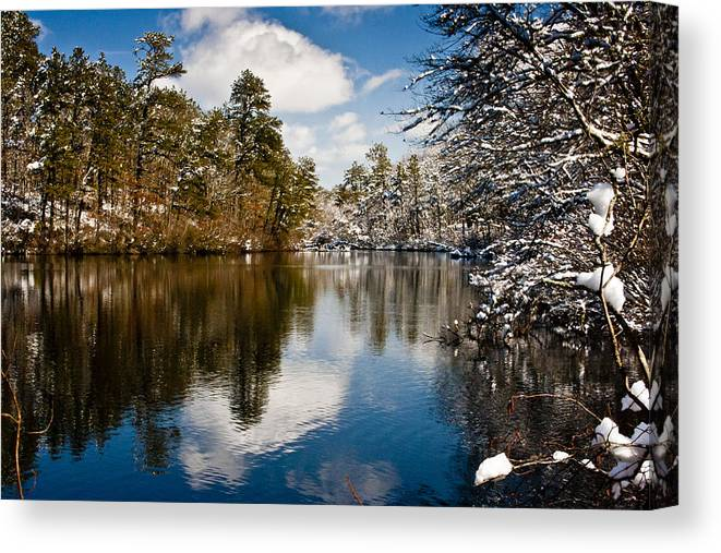 Winter Canvas Print featuring the photograph Upper Pond by Dennis Coates