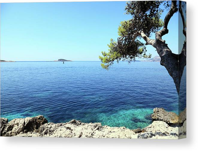 Water's Edge Canvas Print featuring the photograph View Of Dubrovnik From Cavtat Peninsula by Vuk8691