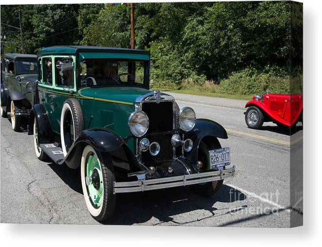 Bowen Island Canvas Print featuring the digital art Vintage Cars Green Chevrolet by Carol Ailles