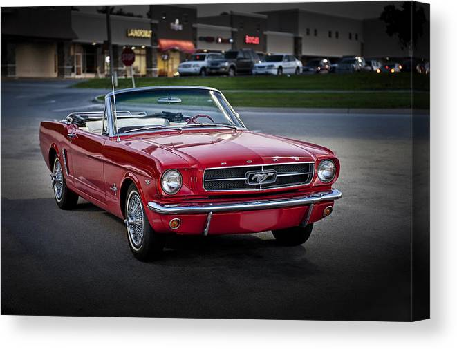 Mustang Canvas Print featuring the photograph Vintage Red 1966 Ford Mustang V8 Convertible E48 by Wendell Franks