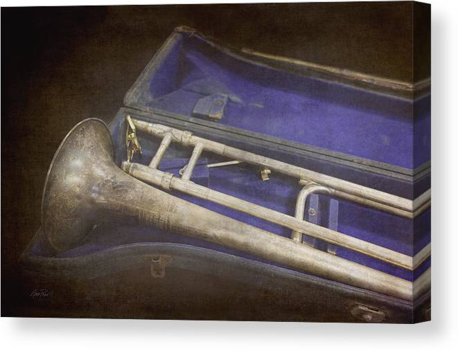 Trombone Canvas Print featuring the photograph Vintage Trombone by Ann Powell