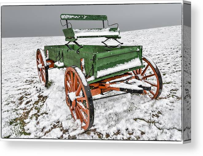 Wagon Canvas Print featuring the photograph Vintage Wagon In The Snow E98 by Wendell Franks