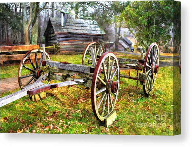 North Carolina Canvas Print featuring the photograph Vintage Wagon On Blue Ridge Parkway I by Dan Carmichael