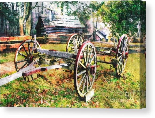 North Carolina Canvas Print featuring the painting Vintage Wagon On Blue Ridge Parkway II by Dan Carmichael