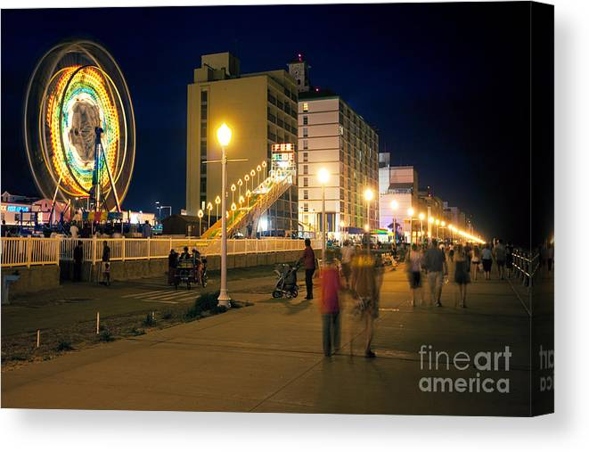 970fa52b5 Virginia Beach Boardwalk At Night Canvas Print / Canvas Art by Bill Cobb