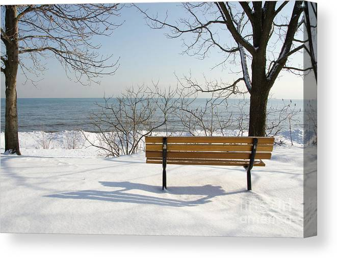 Bench Canvas Print featuring the photograph Waiting For Spring by Laurel Best
