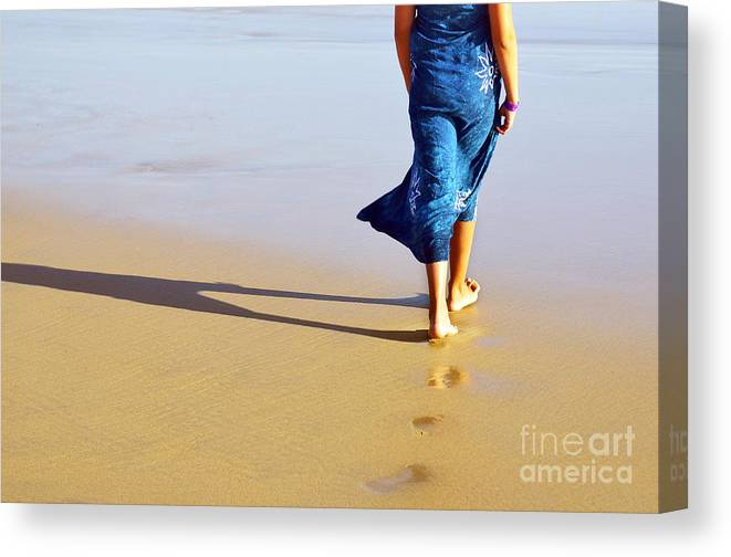 Activity Canvas Print featuring the photograph Walking On The Beach by Carlos Caetano