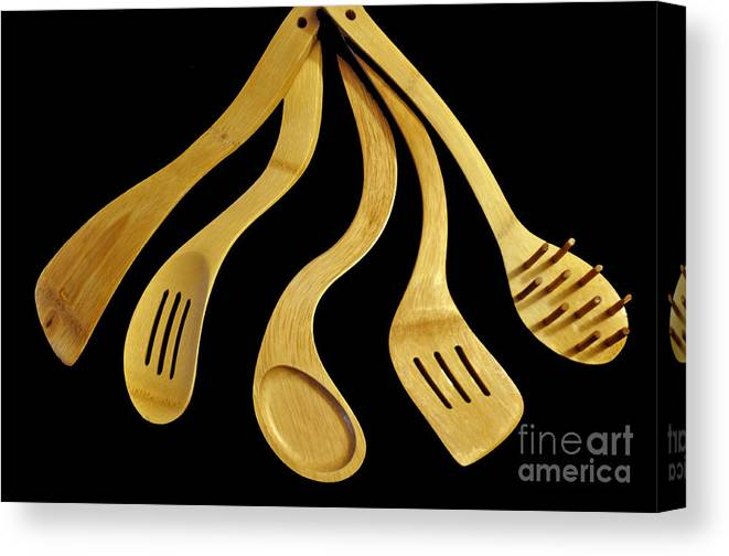 Warped Utensils Canvas Print featuring the photograph Warped Wooden Kitchen Utencils by Tikvah's Hope