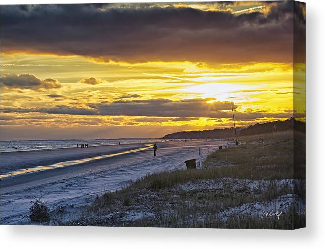 Beach Canvas Print featuring the photograph Watching The Sun Set by Phill Doherty