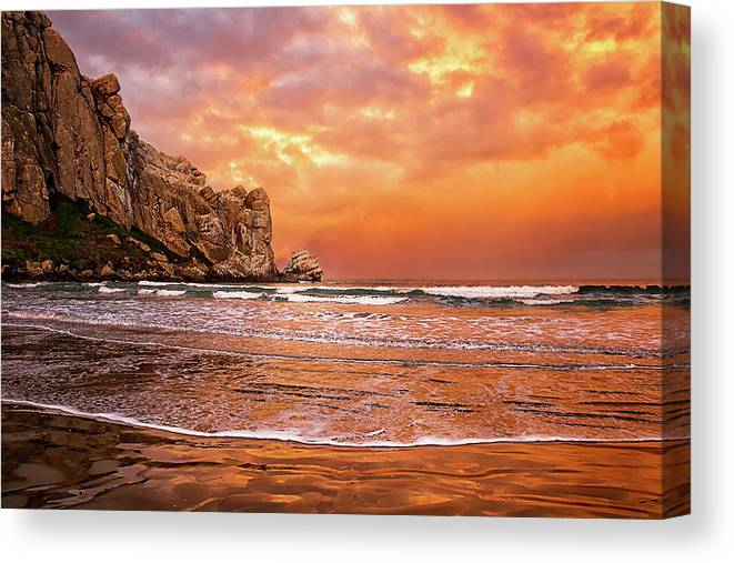 Water's Edge Canvas Print featuring the photograph Waves Breaking On Beach At Sunrise by Alice Cahill