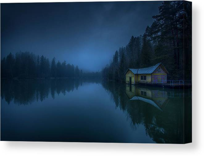 House Canvas Print featuring the photograph When Clouds And Night Were Falling by
