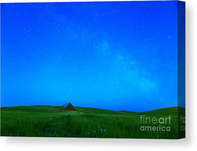 Barn Canvas Print featuring the photograph When The Stars Go Blue by Beve Brown-Clark Photography