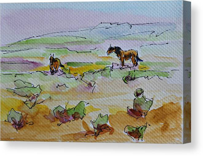 Landscape Canvas Print featuring the painting Wild Horses by Karen McLain