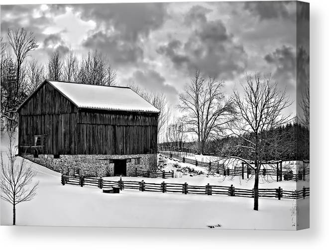 Barn Canvas Print featuring the photograph Winter Barn Monochrome by Steve Harrington