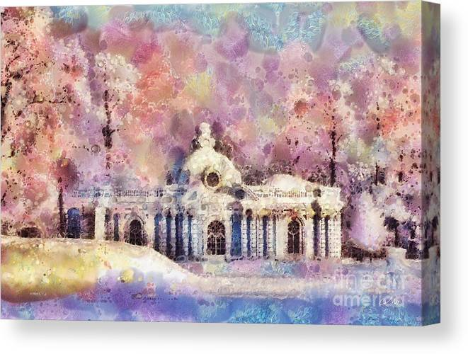 Winter Manor Canvas Print featuring the painting Winter Manor by Mo T