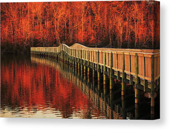 Picture Of Wood Bridge Canvas Print featuring the photograph Winter Reds by Ola Allen