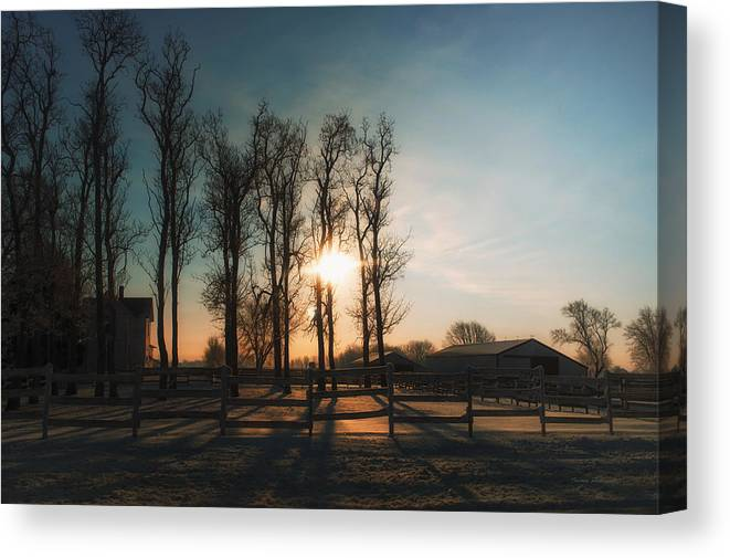 Sunrise Canvas Print featuring the photograph Winter Sunrise On The Farm 01 by Thomas Woolworth