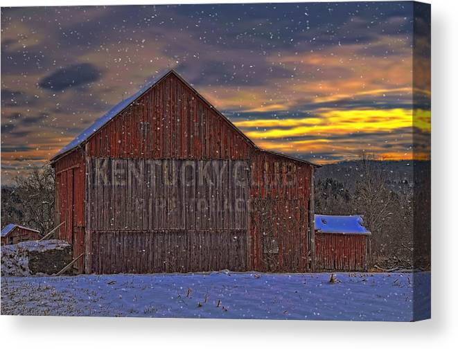 Sun Canvas Print featuring the photograph Winter Sunrise Over Dorothy's Barn. by Dave Sandt