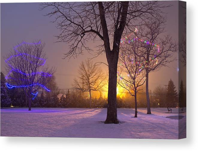 Christmas Canvas Print featuring the photograph Winter Wonderland - Holiday Square - Casper Wyoming by Diane Mintle