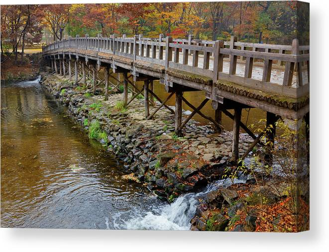 Photography Canvas Print featuring the photograph Wood Bridge And Autumn Color by Panoramic Images