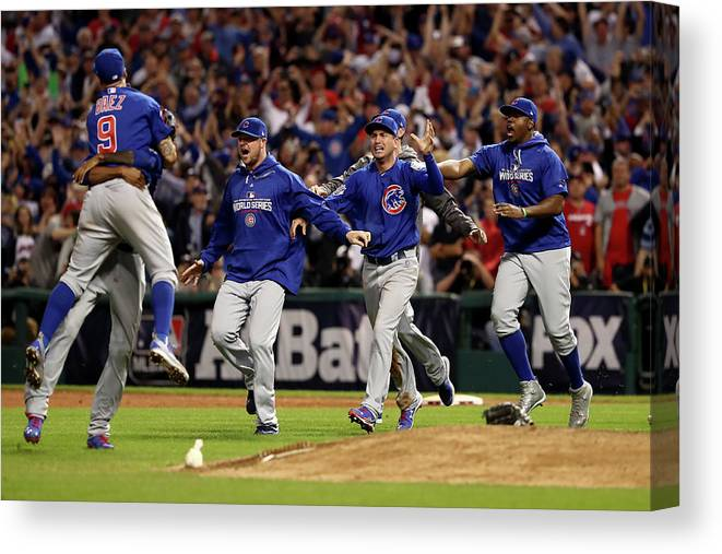 American League Baseball Canvas Print featuring the photograph World Series - Chicago Cubs V Cleveland by Elsa