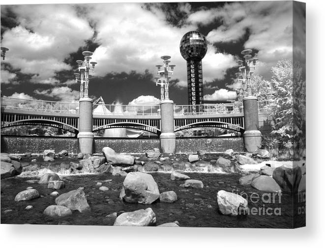 Infrared Canvas Print featuring the photograph Worlds Fair Park In Knoxville - Infrared by Paul W Faust - Impressions of Light