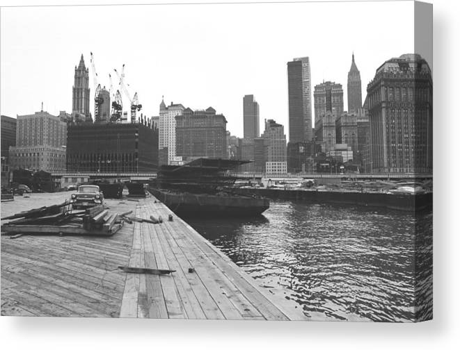 Wtc Canvas Print featuring the photograph Wtc Prefab Floor Sections by William Haggart