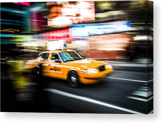 Yellow Canvas Print featuring the photograph Yellow Cab by Chris Halford