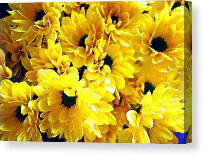 Daisy Canvas Print featuring the painting Yellow Daisies by Florian Rodarte