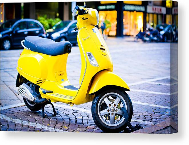 Yellow Vintage Vespa Scooter Parked On Milan Street Canvas Print